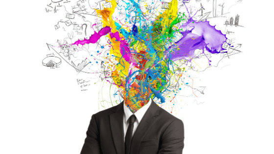"Image of person in suit with a head exploding in ideas and colours. Resist judgment and the idea of ""getting it wrong""."