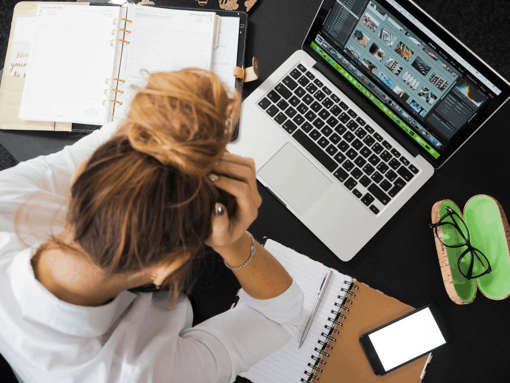 A woman frustrated at work